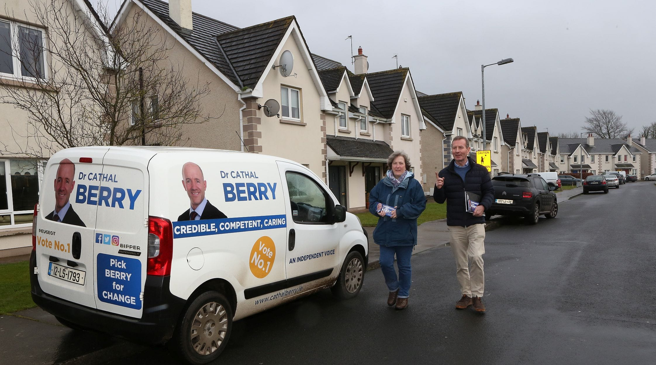 Doctor Cathal Berry, Generlal Election Candidate Kildare South supported on Canvas in Portarlington by Councillor Paul Mitchell