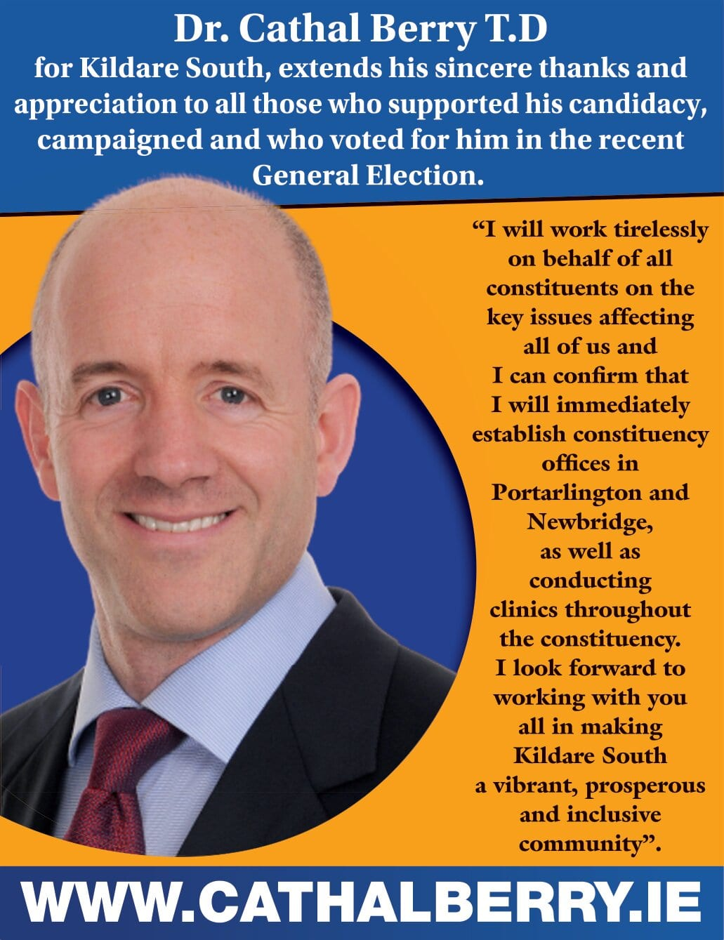 Dr. Cathal Berry TD Kildare South Thank You