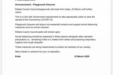 Announcement from Kildare County Council – Playground closures